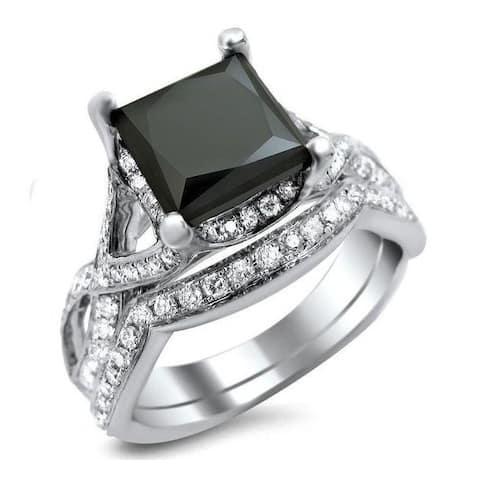 14k White Gold 2 4/5ct TDW Black Princess-cut Diamond Bridal Set