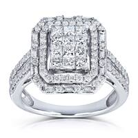 Annello by Kobelli 14k White Gold 1ct TDW Rectangular Frame Diamond Cluster Ring (H-I, I2-I3)