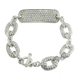Michael Valitutti Sterling Silver Round Cubic Zirconia Link Toggle Bracelet
