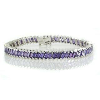 Michael Valitutti Sterling Silver Baguette Created Purple Cubic Zirconia Bracelet