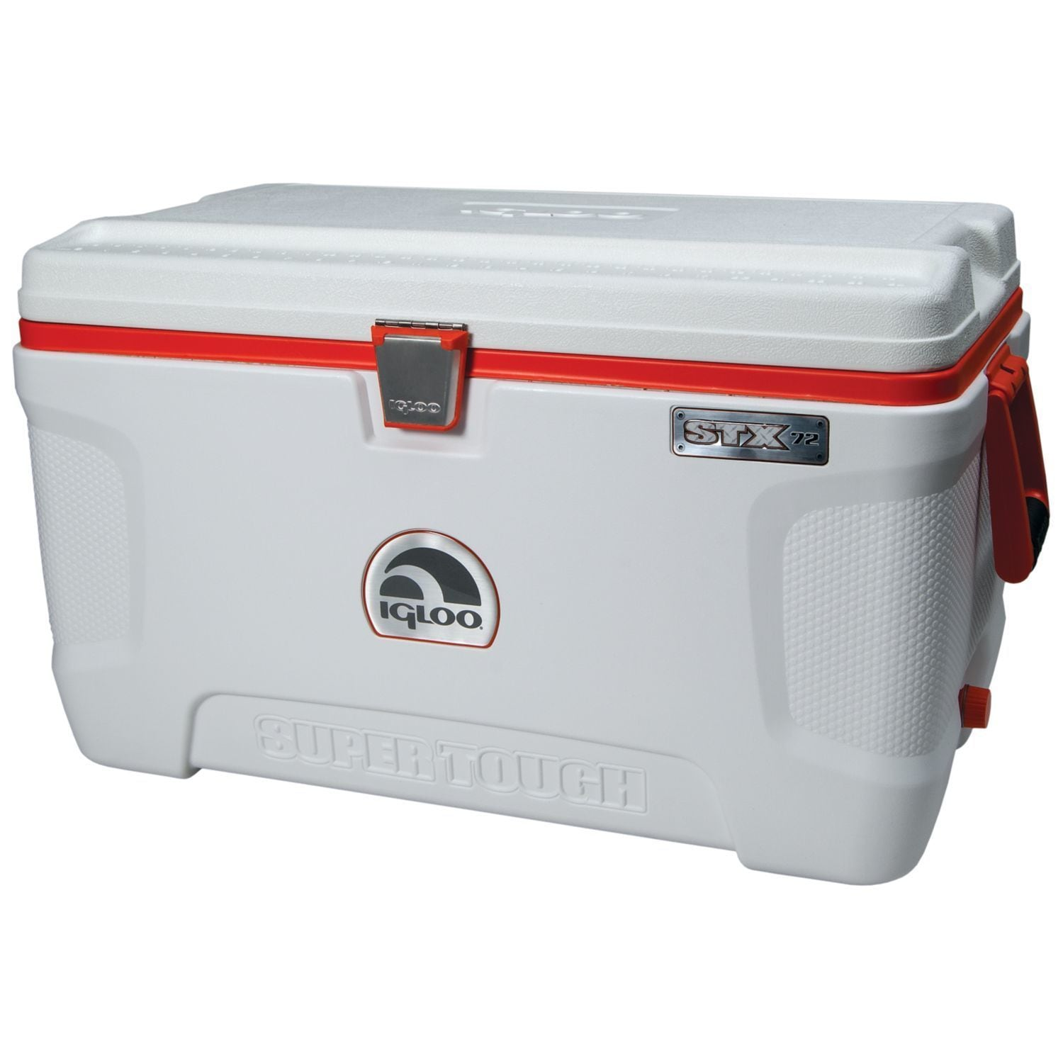 Igloo Super Tough STX-72 Camping Cooler (White/Orange) (S...