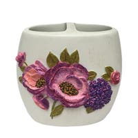 Laural Home Blue and Purple Florals Toothbrush Holder