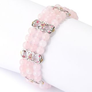 Michael Valitutti Palladium Silver Three-Row Morganite Bead & Pink Sapphire Fancy Station Link Bracelet