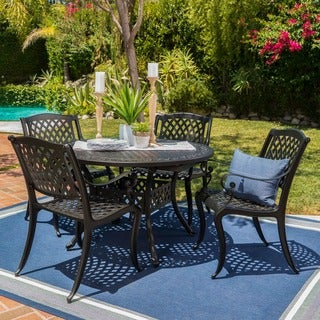 Carysfort Outdoor Round Aluminum Dining Set by Christopher Knight Home