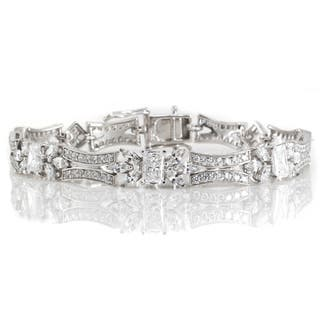 Michael Valitutti Sterling Silver Multi Shaped Cubic Zirconia Flower Bracelet|https://ak1.ostkcdn.com/images/products/16693493/P23011392.jpg?impolicy=medium
