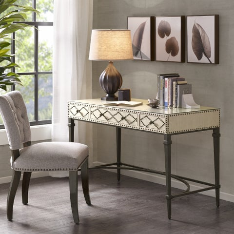 Madison Park Irina 3 Drawers Study Writing Desk with Glass Top and Metal Legs 2-Color Option