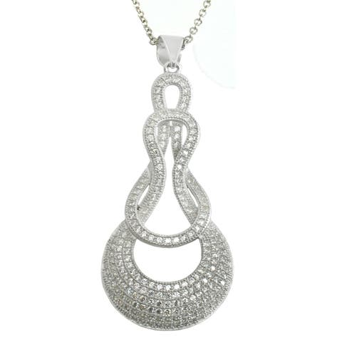 Michael Valitutti Sterling Silver Round Cubic Zirconia Pendant