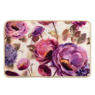 Laural Home Blue and Purple Florals Bath Mat