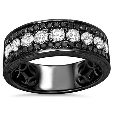 14k Black Gold Men's 1 2/5ct TDW White and Black Diamond Wedding Band