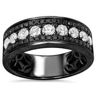 Noori 14k Black Gold Men S 1 2 5ct Tdw White And Diamond Wedding Band
