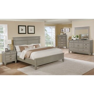 York 204 Solid Wood Construction Bedroom Set with King-size Bed, Dresser, Mirror, Chest, and Night Stand