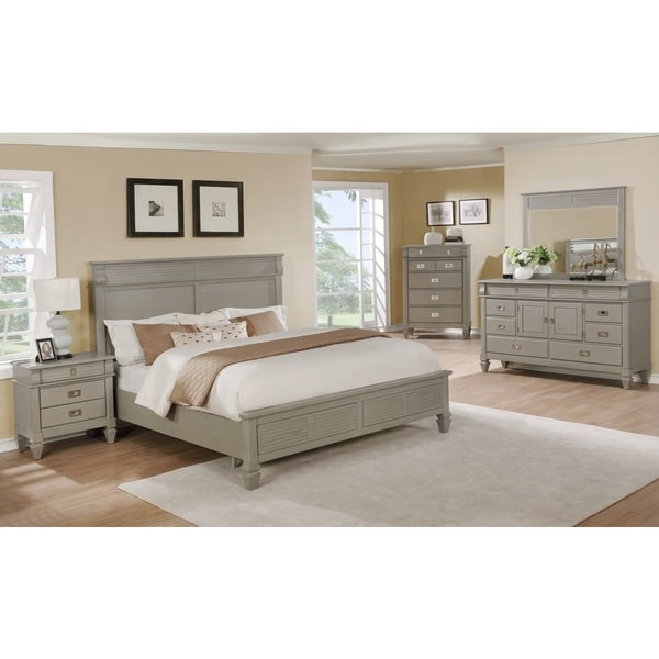 York 204 Solid Wood Construction Bedroom Set with King ...