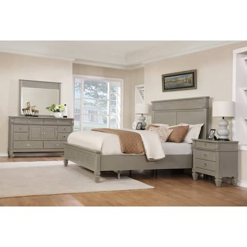 York 204 Solid Wood Construction Bedroom Set with Queen size Bed, Dresser, Mirror and 2 Night Stands