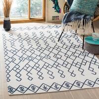 Safavieh Cedar Brook HandWoven Cotton Contemporary Geometric Ivory/ Navy Area Rug - 4' x 6'