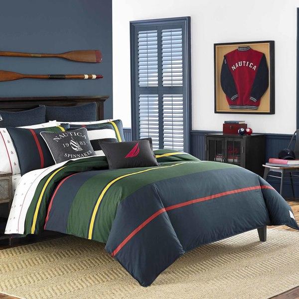 Shop Nautica Heritage Classic Stripe Navy Comforter Set
