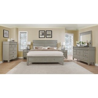 The Gray Barn Barish Solid Wood Construction Bedroom Set with King Size Bed, Dresser, Mirror, Chest and 2 Nightstands