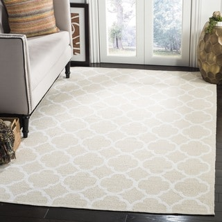 Safavieh Montauk Hand-Woven Cotton Transitional Geometric Beige/ Ivory Area Rug (3' x 5')