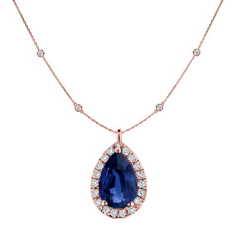 Auriya Pear Shaped 1ct Blue Sapphire and 1 3/5ctw Halo Diamond Station Necklace 14k Gold