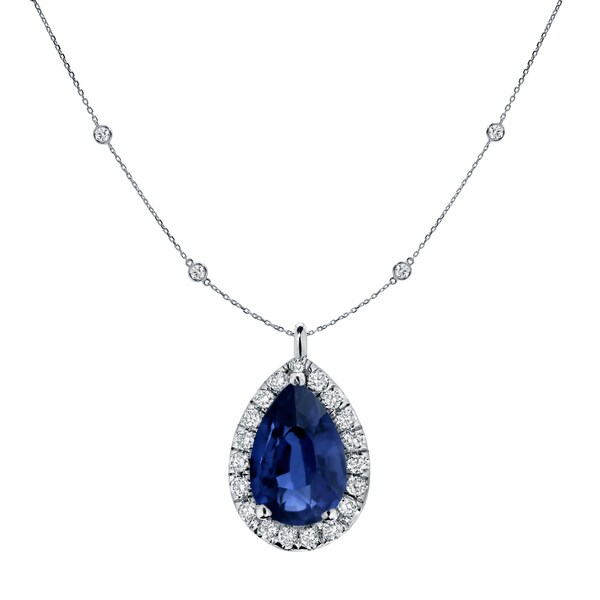 Auriya 14k Gold 1ct Pear-cut Sapphire and Halo Diamond Chain Station Necklace 1 3/5ct TDW. Opens flyout.