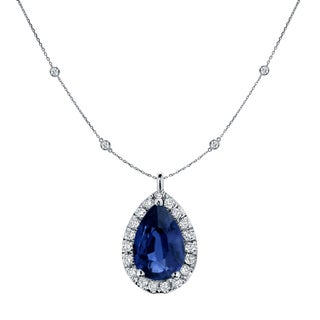 Auriya Pear Shaped 1ct Blue Sapphire And 1 3 5ctw Halo Diamond Station Necklace 14k Gold