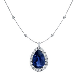 Auriya 14k Gold 1ct Pear-Shaped Blue Sapphire and 1 3/5ct TDW Diamond Halo Drop Necklace