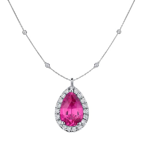 Auriya 14k Gold 1ct Pear-cut Pink Sapphire and Halo Diamond Chain Station Necklace 1 3/5ct TDW