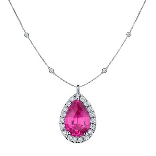 14k Gold 1ct Pear-Shaped Pink Sapphire and 1 3/5ct TDW Diamond Halo Necklace by Auriya