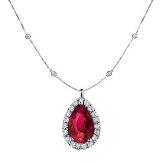 Auriya 14k Gold 1ct TDW Pear-Shaped Red Ruby and Diamond Halo Pendant with Diamond-by-the Yard Chain