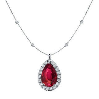 14k Gold 1ct Pear-Shaped Red Ruby and 1 3/5ct TDW Diamond Halo Necklace by Auriya