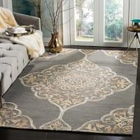 Safavieh Dip Dye HandWoven Wool Modern Geometric Slate/ Beige Area Rug (5' x 8')