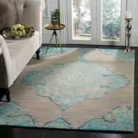 Safavieh Dip Dye HandWoven Wool Modern Geometric Grey/ Turquoise Area Rug - 5' x 8'