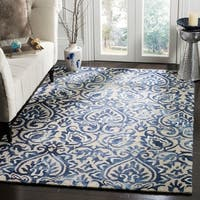 Safavieh Dip Dye HandWoven Wool Modern Geometric Royal Blue/ Beige Area Rug - 5' x 8'