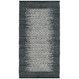 Safavieh Vintage Leather HandWoven Modern Geometric Light Grey/ Charcoal Area Rug (5' x 8')