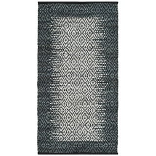 Safavieh Vintage Leather HandWoven Modern Geometric Light Grey/ Charcoal Area Rug (6' x 9')