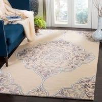 Safavieh Dip Dye HandWoven Wool Modern Geometric Beige/ Blue Area Rug - 8' x 10'