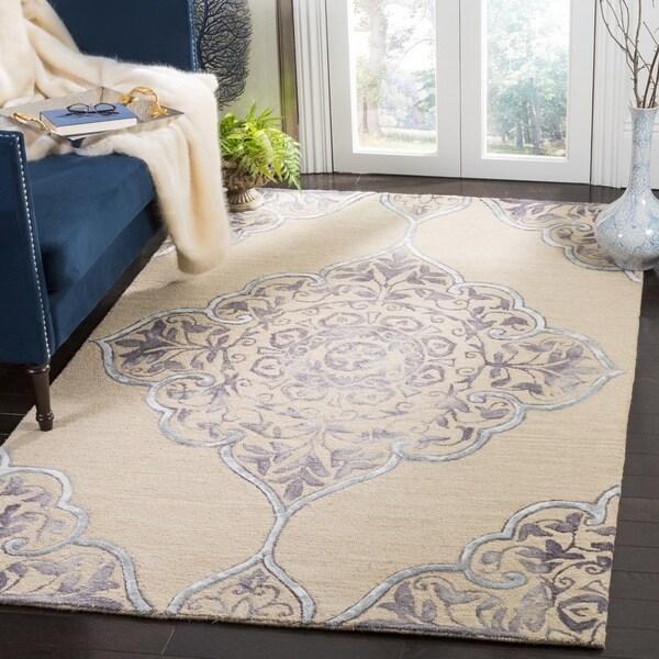 Safavieh Dip Dye HandWoven Wool Modern Geometric Beige/ Blue Area Rug (8' x 10')