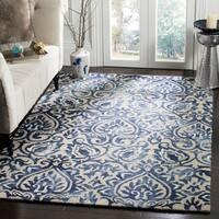 Safavieh Dip Dye HandWoven Wool Modern Geometric Royal Blue/ Beige Area Rug - 8' x 10'