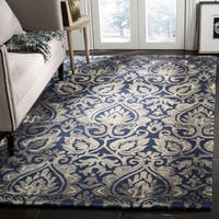 Safavieh Dip Dye HandWoven Wool Modern Geometric Navy/ Grey Area Rug - 8' x 10'