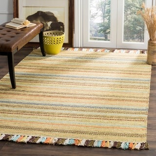 Safavieh Montauk HandWoven Cotton Transitional Geometric Green/ Multi Area Rug (8' x 10')