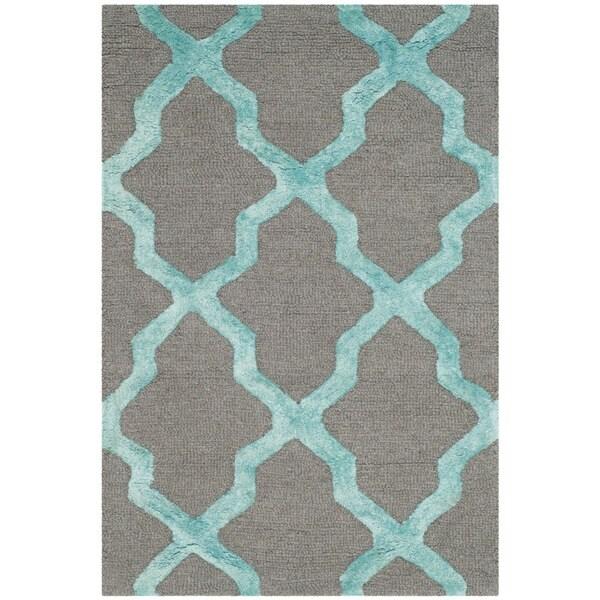 Safavieh Cambridge HandWoven Wool Contemporary Geometric Grey/ Turquoise Area Rug - 2' X 3'