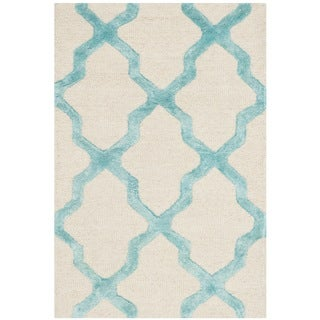Safavieh Cambridge HandWoven Wool Contemporary Geometric Ivory/ Turquoise Area Rug (2' x 3')
