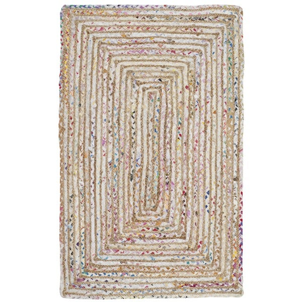 "Safavieh Handmade Cape Cod Boho Braided Beige/ Multi Cotton Rug - 2'3"" x 4'"