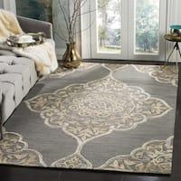 Safavieh Dip Dye HandWoven Wool Modern Geometric Slate/ Beige Area Rug - 2' x 3'