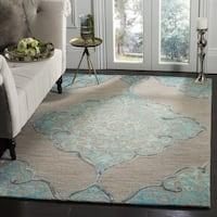 Safavieh Dip Dye HandWoven Wool Modern Geometric Grey/ Turquoise Area Rug - 2' X 3'