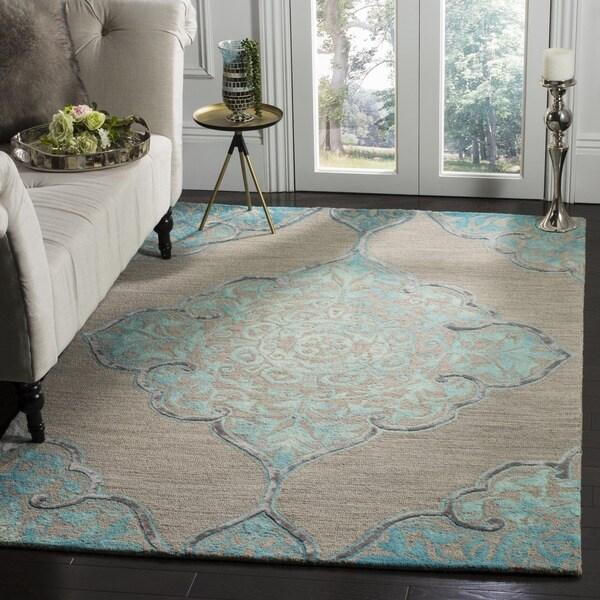 Florida Gray Turquoise Area Rug: Shop Safavieh Dip Dye HandWoven Wool Modern Geometric Grey