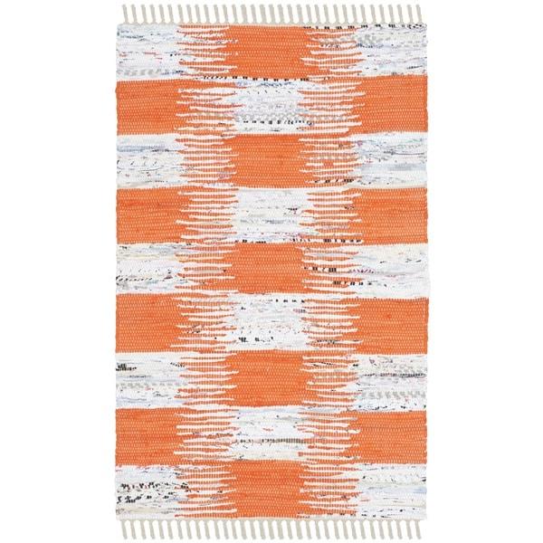 Safavieh Montauk HandWoven Cotton Transitional Geometric Orange/ Multi Area Rug (2'6 x 4')