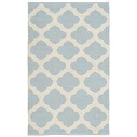 Safavieh Montauk HandWoven Cotton Transitional Geometric Light Blue/ Ivory Area Rug - 2'6 x 4'