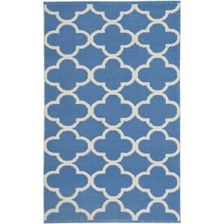 Safavieh Montauk HandWoven Cotton Transitional Geometric Blue/ Ivory Area Rug (2'6 x 4')