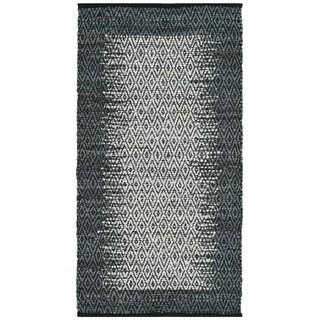 Safavieh Vintage Leather Hand-Woven Modern Geometric Light Grey/ Charcoal Area Rug (2' x 3')