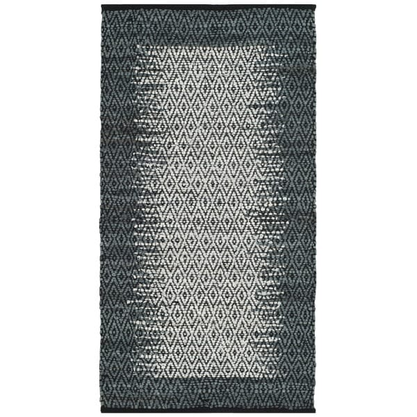 Safavieh Vintage Leather Hand-Woven Modern Geometric Light Grey/ Charcoal Area Rug (2' x 3')